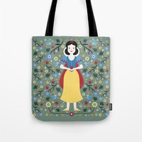 snow white Tote Bags featuring Snow White  by Carly Watts