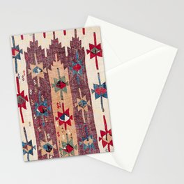 Horizontal Band Kilim 19th Century Authentic Colorful Purple Green Bands Vintage Patterns Stationery Cards