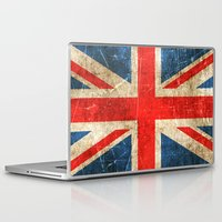 british flag Laptop & iPad Skins featuring Vintage Aged and Scratched British Flag by Jeff Bartels