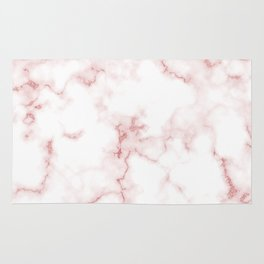 Pink Rose Gold Marble Natural Stone Gold Metallic Veining White Quartz Rug