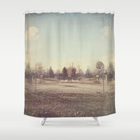 parks Shower Curtains featuring When Parks Were a Thing by Jane Lacey Smith