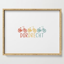 Dordrecht Retro Bicycle Souvenir TShirt Dutch Flag Shirt Netherlands Cycling Gift Idea  Serving Tray
