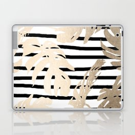 Simply Tropical White Gold Sands Palm Leaves on Stripes Laptop & iPad Skin