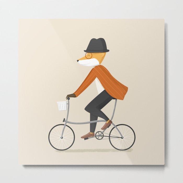 Mr. Fox is on His Way Metal Print