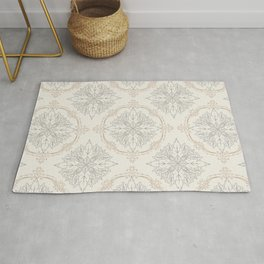 Modern Floral Damask Pattern – Neutral Brown and Gray Earth Tones Rug