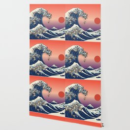 The Great Wave of Pug Red Wallpaper
