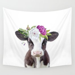 Baby Cow with Flower Crown Wall Tapestry