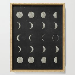 Moon Phases on Black Sky Serving Tray