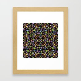 Terrific monsters posing for a colorful pattern design Framed Art Print