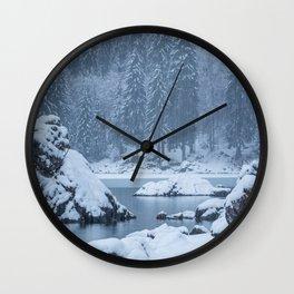 Heavy snow fall lake Fusine, Italy Wall Clock