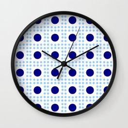 new polka dot 9 - dark and light blue Wall Clock