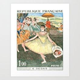 1970 FRANCE Edgar Degas Ballet Dancer Postage Stamp Art Print