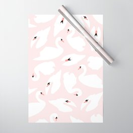Swan Pattern on Pink 030 Wrapping Paper