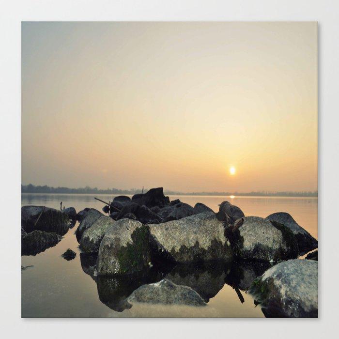 sea stones sunset ### Canvas Print