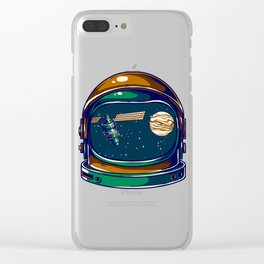 Astronaut Helmet - Satellite and the Moon Clear iPhone Case