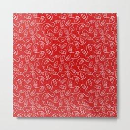 Seamless Christmas Lights (Red) Metal Print