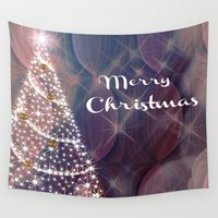 merry christmas Wall Tapestries featuring Merry Christmas by Judy Palkimas