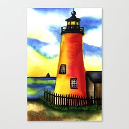 watercoler light house Canvas Print