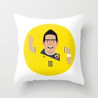 colombia Throw Pillows featuring James Rodriguez - Colombia by Gary  Ralphs Illustrations
