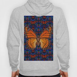 ORANGE BUTTERFLIES  & DARK BLUE ART PATTERN Hoody