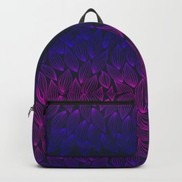 Autumn blue-pink leaf fall. Backpack