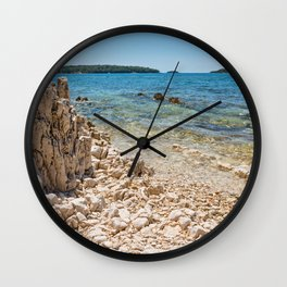 Beautiful rocky beach, blue sea and islands in Istria, Croatian coast Wall Clock