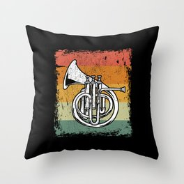 Vintage French Horn Player Music Horn Gift Throw Pillow