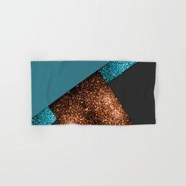 Aqua blue and bronze sparkles modern color block art Hand & Bath Towel