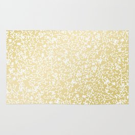 Hand painted modern faux gold white floral pattern Rug