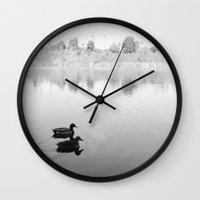 ducks Wall Clocks featuring Ducks by The Dalai Lomo