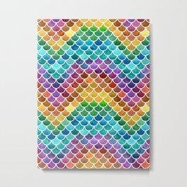 Vibrant Rainbow Scales Metal Print