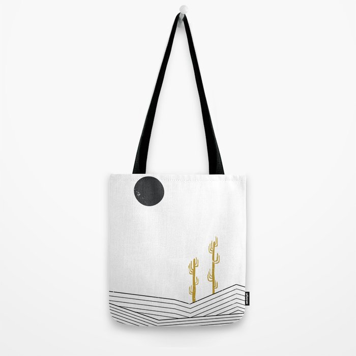Abstract geometric landscape, desert and cactus Tote Bag