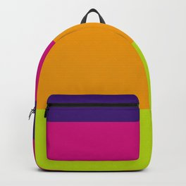 Vibrant Color Stripes in Blue Rose Yellow and Lime Green  Backpack