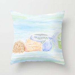 Sleeping Mermaid Throw Pillow