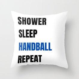Shower Sleep Handball Repeat Throw Pillow