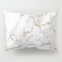 Champagne Rose Gold Blush Metallic Glitter Foil on Grey Marble Pillow Sham