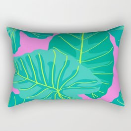 Giant Elephant Ear Leaves in Preppy Pink Rectangular Pillow