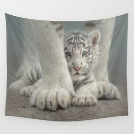 White Tiger Cub - Sheltered Wall Tapestry