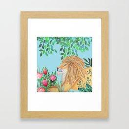 lion, jungle tropical rain forest zen botanical Framed Art Print