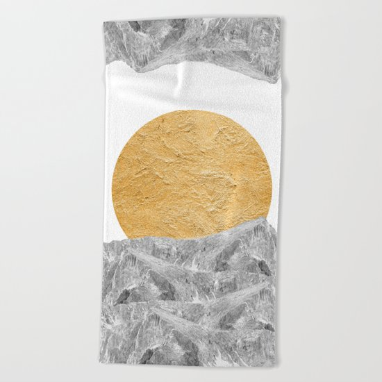 Modern Abstract - Sun and Mountains Beach Towel