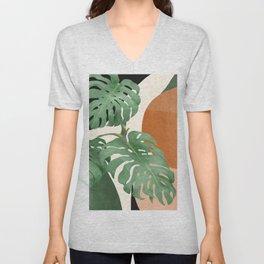 Tropical Leaves- Abstract Art  Unisex V-Neck