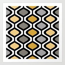 Mid Century Modern Rounded Diamond Pattern // Black, Gray, Gold, Butter Yellow // Version 1 Art Print