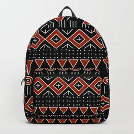 Mudcloth Style 2 in Black and Red Backpack