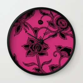Vintage Floral Pink Yarrow Wall Clock