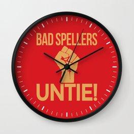 BAD SPELLERS UNTIE! (Red) Wall Clock