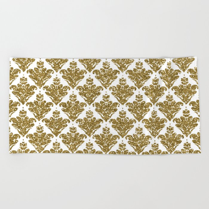 Faux White and Gold Glitter Small Damask Beach Towel