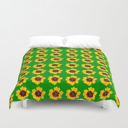 pattern yellow daisy on green background Duvet Cover