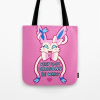 sylveon Tote Bags featuring fairy sylveon  by deerboywonder