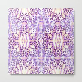 Lavender and White Moroccan Boho Metal Print