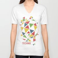 techno V-neck T-shirts featuring Techno by Sitchko